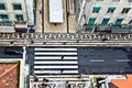 Birds View To A Crosswalk In The Old Part Of Lisbon, Portugal Royalty Free Stock Images - 51911829