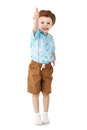 Little Boy Jumping And Having Fun Isolated On White Background. Royalty Free Stock Image - 51932216