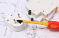 Screwdriver, Electric Plug And Fuse On Construction Drawing Stock Images - 51940284