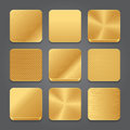 App Icons Background Set. Golden Metal Button Icons Royalty Free Stock Photo - 51951745