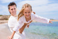 Happy Father And Little Girl Have Fun During Beach Royalty Free Stock Image - 51955016