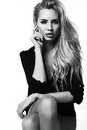 Beautiful Sexy Woman With Blond Hair In Elegant Black Jacket Stock Photo - 51962530