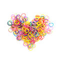 Small Round Colorful Rubber Bands In Heart Shape Stock Photos - 51963003