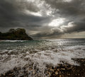Dramatic Landscape - Dark Stormy Sky And Sunlight, Sea Waves, Co Royalty Free Stock Image - 51966136