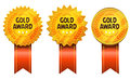 Gold Awards Medals And Ribbons Royalty Free Stock Photo - 51973805