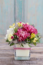 Bouquet Of Pink Carnations And Yellow Alstroemeria Royalty Free Stock Images - 51999419