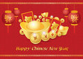 Happy Chinese New Year Card Is  Lanterns ,Gold Coins Money ,Reward And Chiness Word Is Mean Happiness Royalty Free Stock Image - 52001166