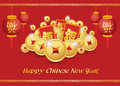 Happy Chinese New Year Card Is  Lanterns ,Gold Coins Money ,Reward And Chiness Word Is Mean Happiness Royalty Free Stock Photos - 52001358