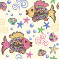 Seamless Pattern With Cartoon Sea Creatures. Royalty Free Stock Images - 52004349