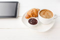 Breakfast With Touchpad Tablet Royalty Free Stock Images - 52020939