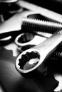 Wrench And Other Tools On Scratched Metal Royalty Free Stock Images - 52037839