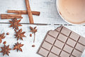 Cinnamon Stick, Star Anise, Bar Of Chocolate And Cup Of Tea Royalty Free Stock Photos - 52040888