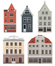 Set Of The Old Northern European Buildings. Set Of The Cartoon Houses. Royalty Free Stock Images - 52045229