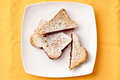 Toast Bread With Strawberry Jam Filling On Plate Royalty Free Stock Photography - 52049537