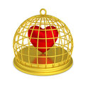 Trapped Heart Round Golden Birdcage Royalty Free Stock Images - 52051259