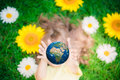 Child Holding Earth Planet In Hands Stock Photography - 52053892