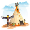 North American Indian Tipi Home With Totem Stock Images - 52057104