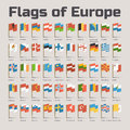Flags Of Europe In Cartoon Style Royalty Free Stock Image - 52058056