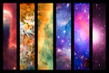 Space Nebula And Galaxy Rainbow Collage Royalty Free Stock Images - 52084679