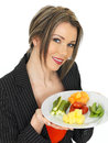 Young Healthy Business Woman With Five A Day Food Selection Royalty Free Stock Photos - 52089238