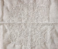 Top View Of Vintage Hand Made Beautiful Lace Fabric Over Wooden Table Stock Photography - 52094782