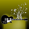 Guitar On Floral Background Royalty Free Stock Images - 5219869