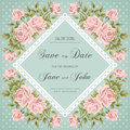 Vintage Wedding Invitation With Roses Stock Photography - 52100592