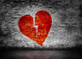 Shape Of Broken Heart On Brick Wall Royalty Free Stock Images - 52101589