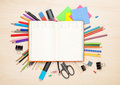 Blank Notepad Over School And Office Supplies Royalty Free Stock Photography - 52103657