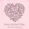 Pink Card With Heart Of Flowers For Mother S Day Stock Image - 52103991