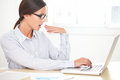Lady Secretary With Glasses Working On Desk Stock Photography - 52111782