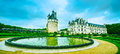 Chateau De Chenonceau Unesco Medieval French Castle And Pool Gar Royalty Free Stock Image - 52117186