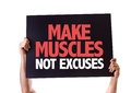 Make Muscles Not Excuses Card Isolated On White Stock Image - 52119221