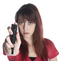 Serious Young Woman Holding Black Tear Gas Spray Stock Images - 52119784