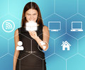 Business Woman Clicks On Icon Portfolio Located In Royalty Free Stock Image - 52126416