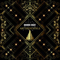 Art Deco Golden Bckground With Pattern And Building Royalty Free Stock Photography - 52128607