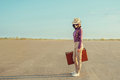 Traveler Girl Standing On Road In Summer Royalty Free Stock Photo - 52139305