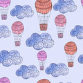Vector Seamless Pattern With Watercolor Clouds And Air Balloons Stock Photo - 52156260