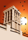 Historical Wind Tower And Birds Vector Illustration Dubai, Unite Royalty Free Stock Image - 52156986