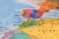 Map Of Marocco With A Blue Pushpin Stuck Royalty Free Stock Photo - 52162215