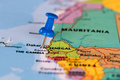 Map Of Senegal With A Blue Pushpin Stuck Stock Photo - 52162550
