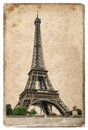 Vintage Style Postcard Concept With Eiffel Tower Paris Royalty Free Stock Images - 52167799