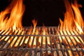Flame Fire Empty Hot Barbecue Charcoal Grill With Glowing Coals Stock Photos - 52181393