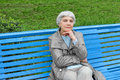 Beautiful Cute Elderly Woman Sitting On Park Bench Blue Royalty Free Stock Photos - 52189078