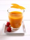 Fruity Mango Smoothie With Raspberry Royalty Free Stock Photography - 52199327