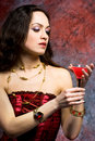 Woman With Glass Of Wine Royalty Free Stock Photos - 5220898
