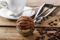 Chocolate Coffee Ice Cream Ball Stock Image - 52206771