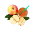 Apple Juice In Glass Top View Isolated Stock Images - 52208964