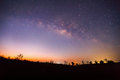 Silhouette Of Tree And Milky Way. Long Exposure Photograph Royalty Free Stock Photography - 52214807