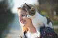 Blonde Woman Play With Cute Cat Stock Photo - 52224300